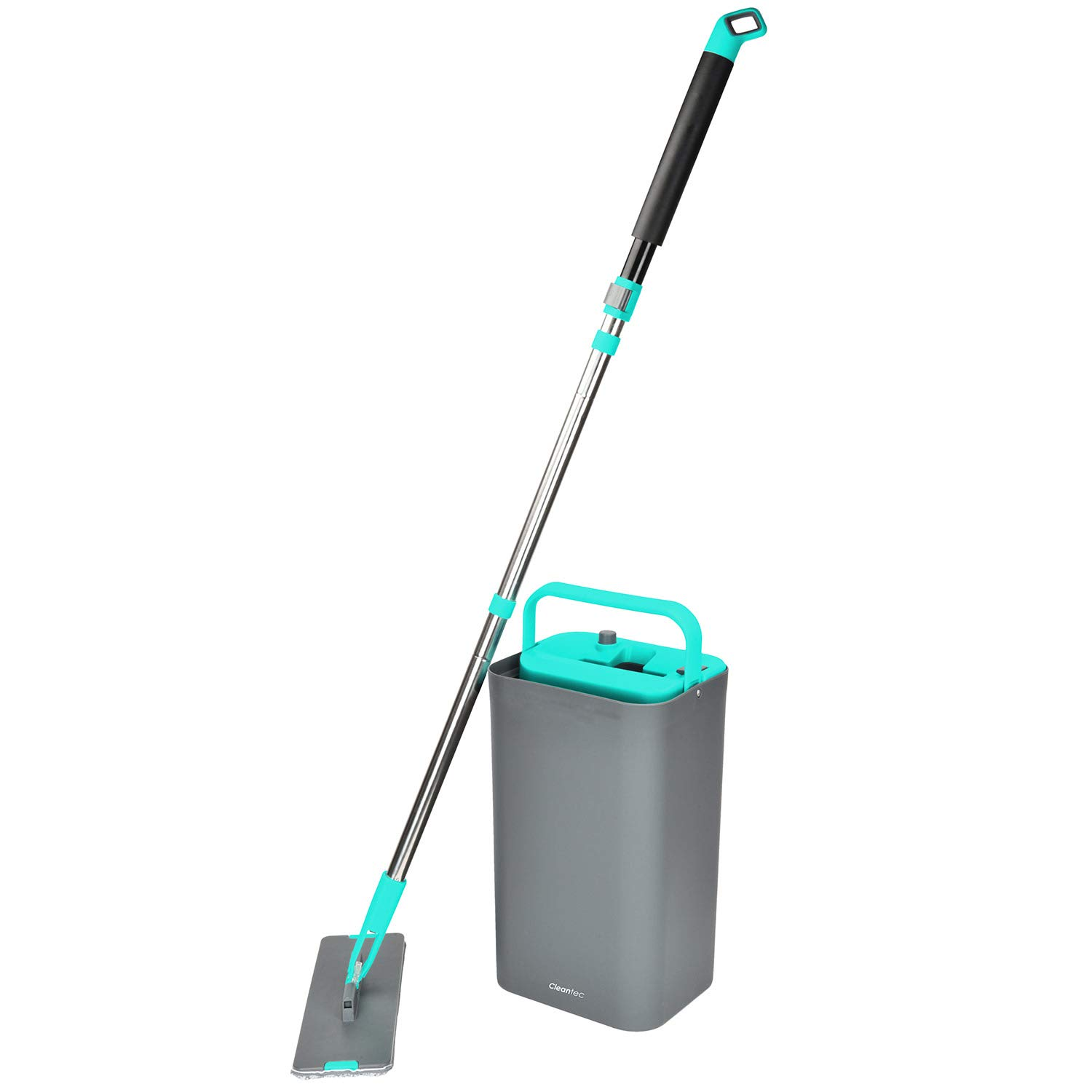 MAGIC FLAT MOP AND BUCKET by Cleantec, 360 Degree Swivel Head, 1.32 Gallon Capacity, Great for Wet-Dry Cleaning, Safe on all Surfaces, Telescopic Wand, Compact Storage, Carry Handle (Grey-Blue)