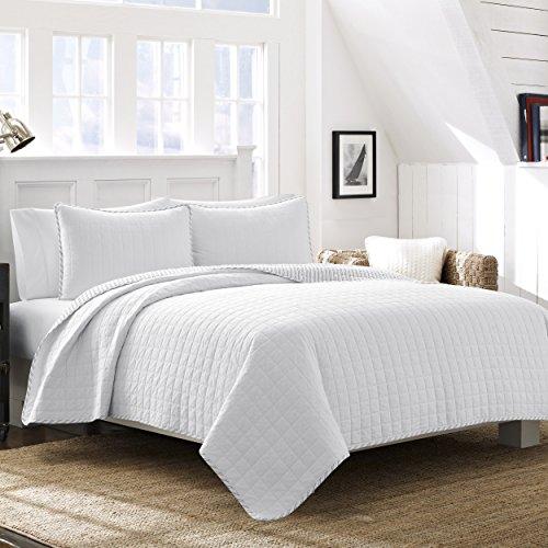Nautica Maywood White Quilt Set, Full/Queen,