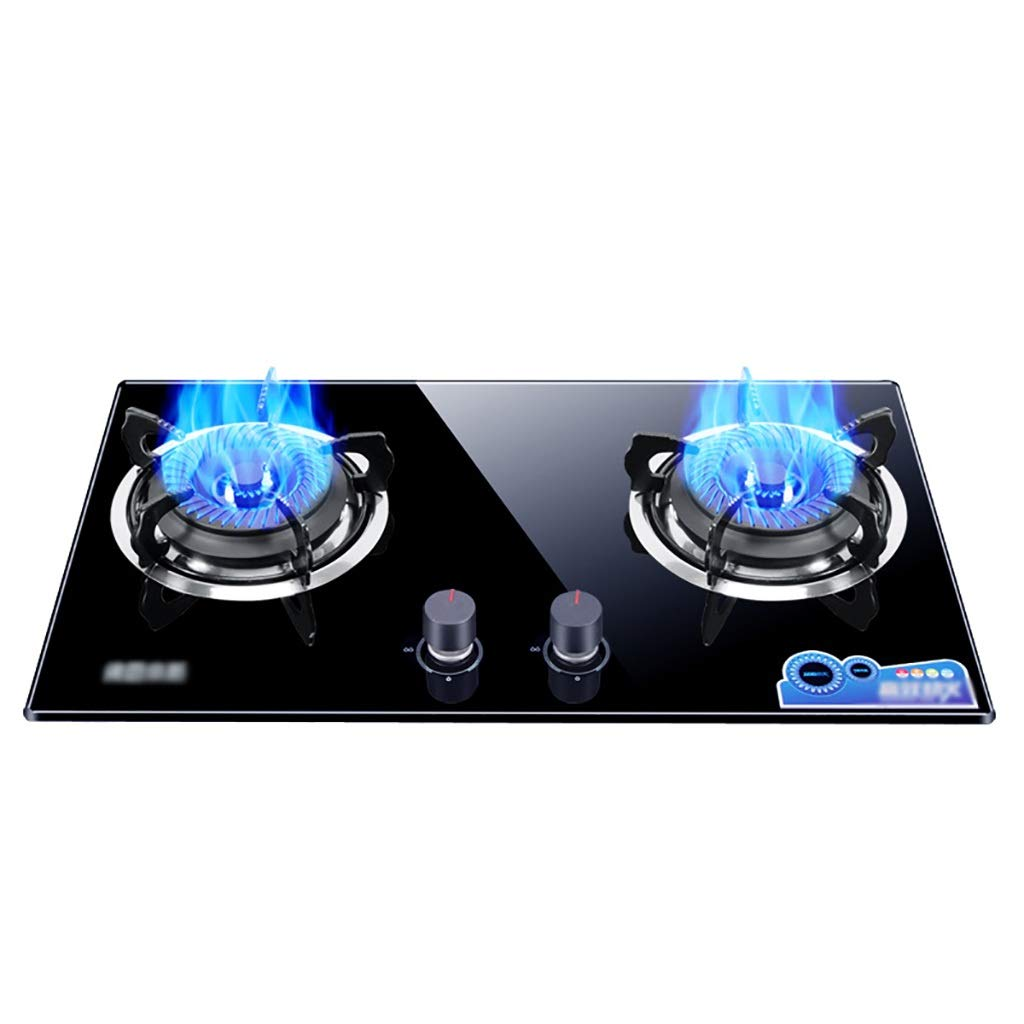 LQ-Stoves Gas Cooktops, Kitchen Energy-Saving Tempered Glass 2 Burner cooktop, Built-in, cooktop Dual-use Natural Gas Cooktops Size: 730410mm by LQ-Stoves