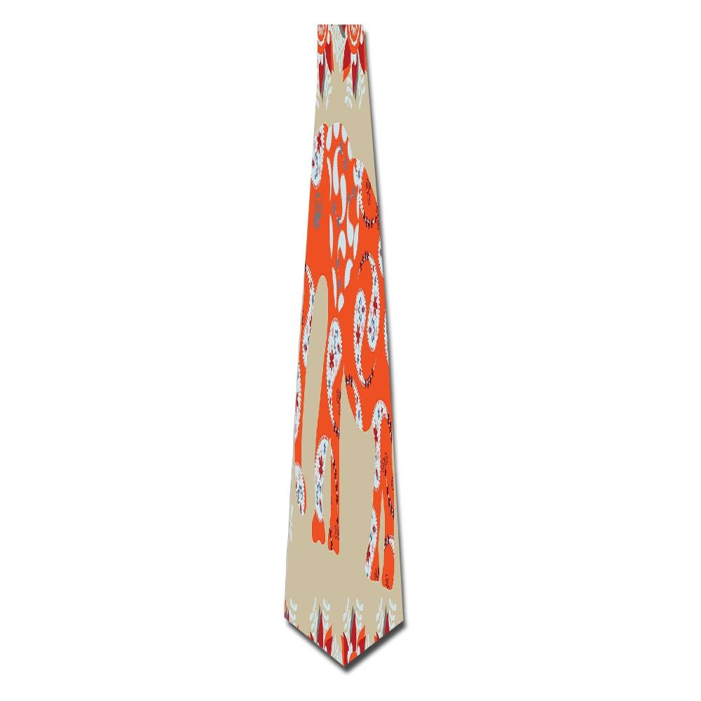 WuLion Elephant In Aisley Floral Theme Drawing Design Men's Classic Silk Wide Tie Necktie (8 CM)