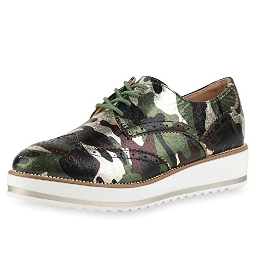 napoli-fashion Damen Halbschuhe Dandy Style Brogues Profilsohle High Fashion Jennika Camouflage Grün
