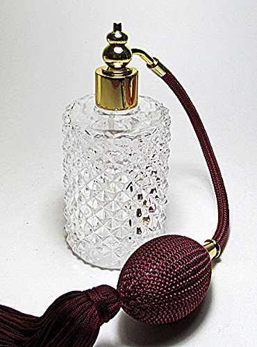 Refillable Burgundy (Alice-Aliya Empty refillable perfume atomizer bottle with bulb and tassel sprayer (Burgundy (Wine) bulb color))