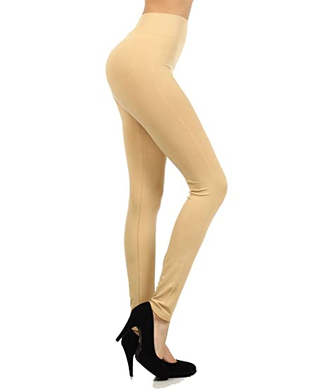 4167063c015017 Fashion Mic Womens High Waist Polyester Solid Color Footless Leggings (free  size, beige)