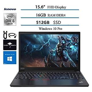 "2020 Lenovo ThinkPad E15 15.6"" FHD Business Laptop Computer, 10th gen Intel i5-10210U (up to 4.20GHz,Beat i7-8550u), 16GB RAM, 512GB SSD, WiFi HDMI Win10 Pro w/Ghost Manta Accessories"