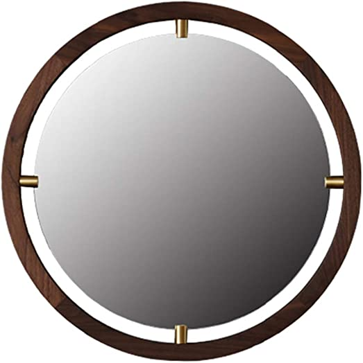 Mirrors Wall-Mounted Wall Such as The Moon Black Walnut Japanese Solid Wood Frame Makeup Hanging Corridor Color Brown, Size 60601.5cm
