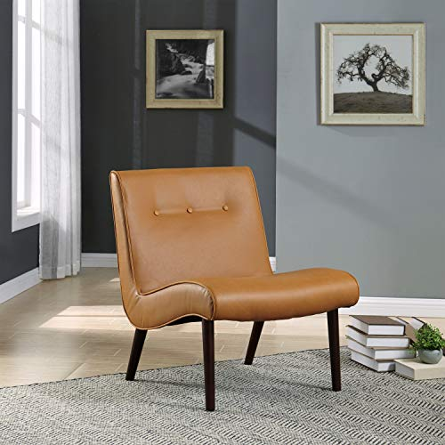New Pacific Direct Alexis Tufted Mid Mod Bonded Leather Chair,Brown Legs,Vintage Caramel Brown,Fully Assembled