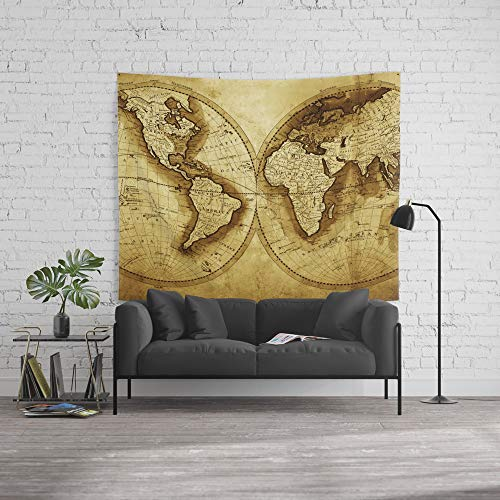 Society6 Wall Tapestry, Size Large: 88'' x 104'', Antique Map of The World by foxxmap by Society6
