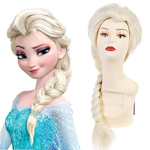 SARLA Frozen Elsa Princess Cosplay Wig Snow Queen For Child Synthetic Movie Long Blonde Costumes Party Halloween Braided Hair Wigs (Elsa For Chlid)