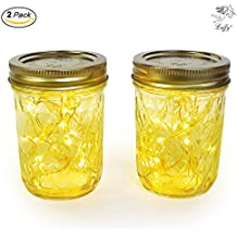 LUFFY Star Light (2 pcs) - Illuminate your life with the Tasteful Glass Jar Light : Perfect alternative to Candles : Batteries Included