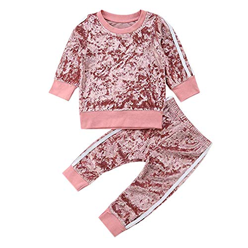 Evelin LEE Unisex Baby 2pcs Outfits Long Sleeve Velvet Pullover Sweatshirts&Long Pants Pink
