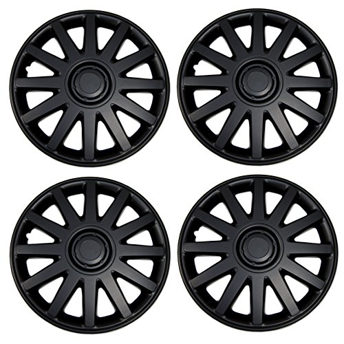 TuningPros WSC3-610B15 4pcs Set Snap-On Type (Pop-On) 15-Inches Matte Black Hubcaps Wheel ()