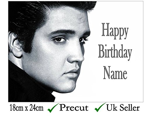 Elvis Inspired Edible Icing Cake Topper Precut - Personalise at the (Review Your Order) section