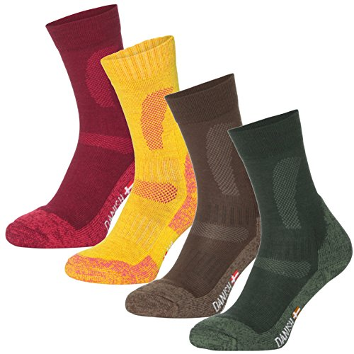 Design Wool Blend - DANISH ENDURANCE Merino Wool Hiking & Trekking Socks (MultiColor Brown, Red, Green 3 Pairs, US Women 11-13//US Men 9.5-12.5)