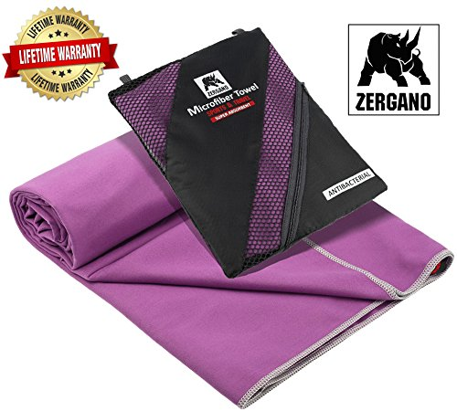 Zergano Microfiber Sport and Travel Towel - Ultra Soft, Compact, Quick Dry & Super Absorbent – Packed in a Mesh Bag (Dark Purple, Small) - Toalla Para Gimnasio