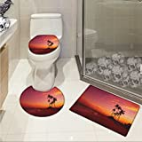 lacencn Ocean Bath Rug Set Exotic Beach Photo over the Ocean Fantastic Hawaii Palm Trees at Sunrise Summer Wonderland Non-slip Soft Absorbent Bath Rug Red