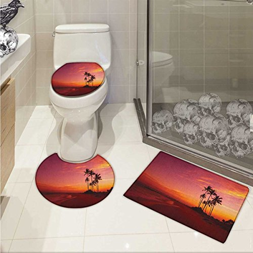 lacencn Ocean Bath Rug Set Exotic Beach Photo over the Ocean Fantastic Hawaii Palm Trees at Sunrise Summer Wonderland Non-slip Soft Absorbent Bath Rug Red by lacencn