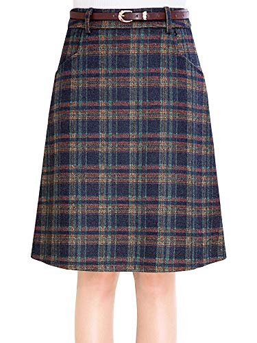 Leggings Wool Plaid (Women's Plaid Wool Flared Skirt A-Line Pleated Knee Length Winter Swing Skirts Blue Tag XXL-US M)