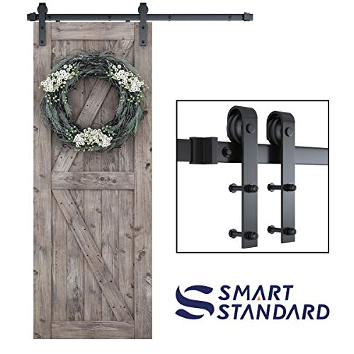 "SMARTSTANDARD 5ft Heavy Duty Sturdy Sliding Barn Door Hardware Kit -Smoothly and Quietly -Easy to Install -Includes Step-by-Step Installation Instruction Fit 30"" Wide Door Panel (J Shape Hanger)"