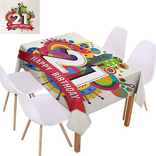 UHOO2018 21st Birthday,Printed Tablecloth,Colorful Design Happy Birthday Themed Image with Geometrical Castle Print,for Weddings, Banquets, or Restaurants,Multicolor,55