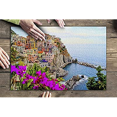 Cinque Terre - Coast of Italy with Flowers 9002741 (Premium 500 Piece Jigsaw Puzzle for Adults, 13x19, Made in USA!): Toys & Games