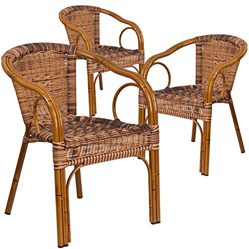 Flash Furniture 3 Pk. Cadiz Series Burning Brown Rattan Restaurant Patio Chair with Dark Red Bamboo-Aluminum Frame -