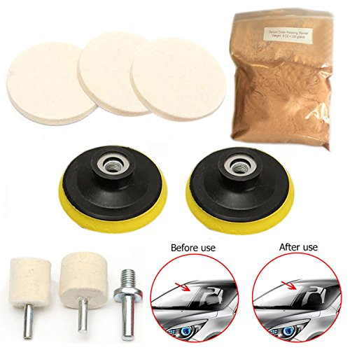 9pcs Auto Glass Polishing Kit Windows Scratch Remover 8 Oz Cerium Oxide Powder 3'' Bobs Polishing Pad With Drill Adapter by Single Mom
