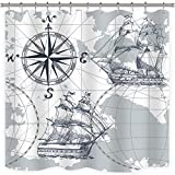Anchor Shower Curtain Riyidecor Nautical Sailboat Map Shower Curtain Panel Weighted Hem Grey Boat Sketch Ship Wheel Compass Anchor Decor Fabric Set Polyester Waterproof Fabric 72x72 Inch Free 12-Pack Plastic