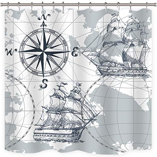 Riyidecor Nautical Sailboat Map Shower Curtain Panel Weighted Hem Grey Boat Sketch Ship Wheel Compass Anchor Decor Fabric Set Polyester Waterproof Fabric 72x72 Inch Free 12-Pack Plastic -