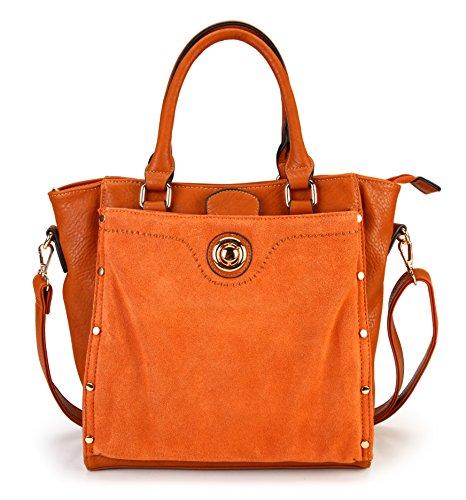 rimen-co-womens-top-handle-pu-leather-zipper-closure-tote-handbag-bl-1611-brown