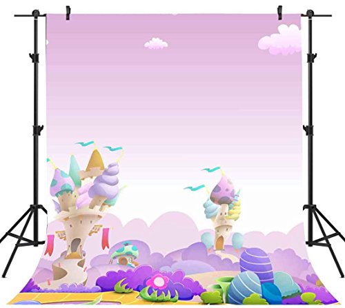 FHZON 5x7ft Fairy Tale Cartoon Backdrop Ice Cream House White Clouds Photography Background Themed Party YouTube Backdrop Photo Booth Studio Props (Fairy Tale Themed Halloween Party)