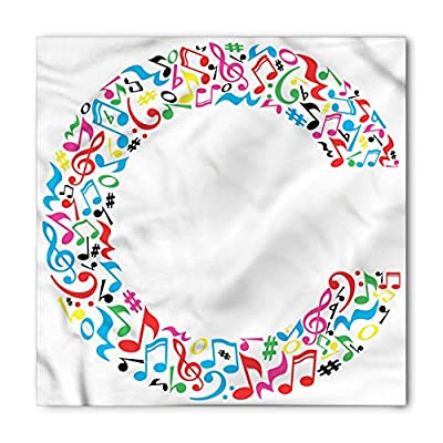 Letter C Bandana by Ambesonne, Musical Notes Keys Major Minor Notes Vibrant Colored Image with Capital C Letter, Printed Unisex Bandana Head and Neck Tie Scarf Headband, 22 X 22 Inches, Multicolor