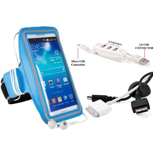 SumacLife Sports Exercise Armband For Apple iPhone 5S, iPhone 5C, iPhone 5 + Cord Organizer + 3 Port USB Hub