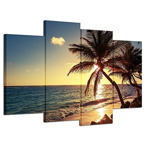 Hello Artwork - Sunset Beach Palm Tree Multi Panel Seascape Giclee Canvas Prints on Canvas Wall Art Modern Stretched and Framed Pictures Paintings Artwork for Home Decor (4Panel)