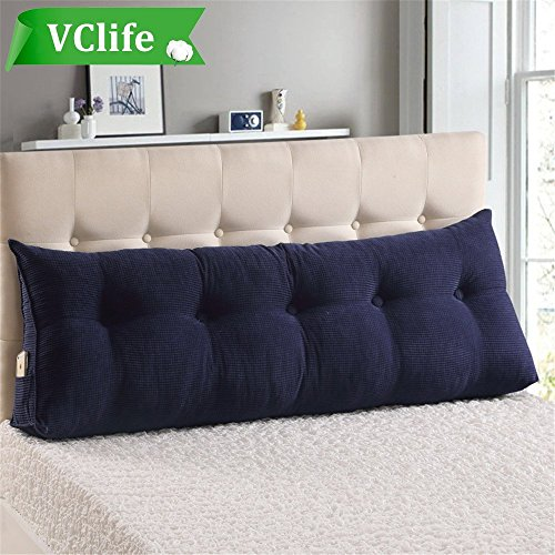 Price comparison product image VClife Reading Pillow for Adults Kids Cotton Large Filled Triangular Wedge Cushion Sofa Bed Backrest Positioning Support Pillow with Removable Cover, King Bed Rest Pillows, Jewelry Blue