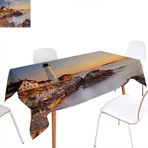 Warm Family United States Patterned Tablecloth Cape Elizabeth Maine River Portland Lighthouse Sunrise USA Coast Scenery Dust-Proof Oblong Tablecloth 60