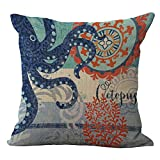 Sea World Cushion Cover ChezMax Cotton Linen Throw Pillow Case Sham Square Pillowcase For Seniors Bedroom Sofa Couch Rocking Chair Seat