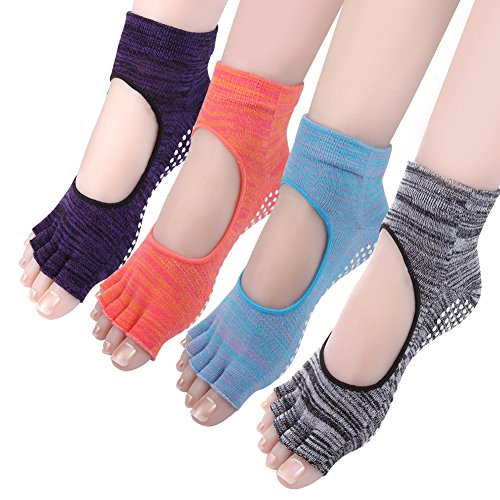 Cosfash Yoga Socks Barre Pilates Grippy Non Slip Cotton Socks for Women 4 Pack