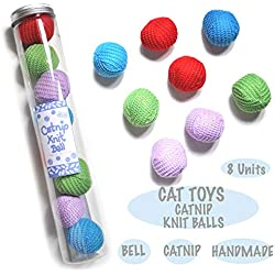 BALLMIE Catnip Mice Ball for Cat Toys with Rattle Bell Mouse Kitty Toys (Knit Ball)