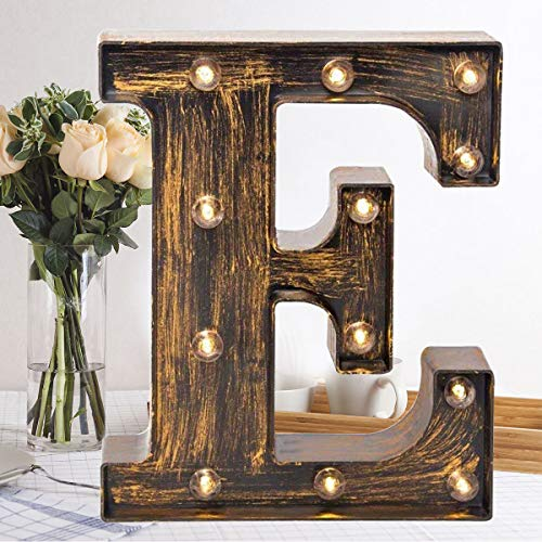 Oycbuzo Golden Black Led Marquee Letter - Industrial, Vintage Style Light Up Alphabet Letter Sign for Cafe Wedding Birthday Party Christmas Lamp Home Bar Initials Decor - E