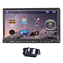 High Quality 7-INCH HD LCD Touch Screen Double 2 Din In Deck gps Car cd DVD Player Radio Stereo System In Dash Navigation BT USD SD RDS with Free BACKUP CAMERA