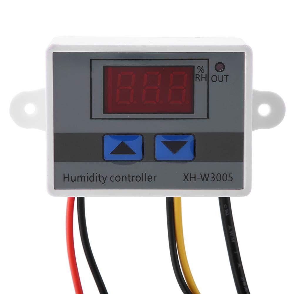 Controlador de humedad digital 220V 220V 24V XH-W3005 Controlador de interruptor de higr/ómetro Sensor de humedad digital 0~99/% HR 12V
