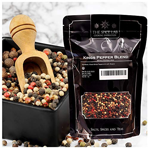 The Spice Lab (1 Lb) Kings Peppercorn Medley (5 Pepper Mix) Mixed Peppercorns Blend - All Natural OU Kosher Non GMO Gluten Free - 16 oz Resealable ()
