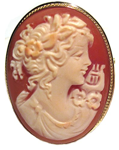 Cameo Brooch Pendant Enhancer Autumn Love, Master Carved, Shell Sterling Silver 18k Gold Overlay Italian