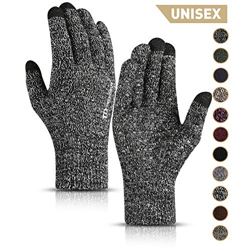 TRENDOUX Mens Gloves, Touch Screen Driving Glove Women Texting Running Unisex - Anti-Slip Grip - Knit Thermal Liners - Soft Elastic Material - Winter Hands Warm in Cold Weather - Black White - XL