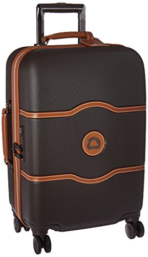 (DELSEY Paris Luggage Chatelet Hard+ Carry On Spinner Suitcase Hardcase with Lock, Chocolate )