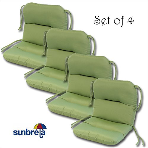 set of 4 outdoor chair cushions 20 x 36 x 3 h19 in sunbrella fabric peridot by comfort classics inc