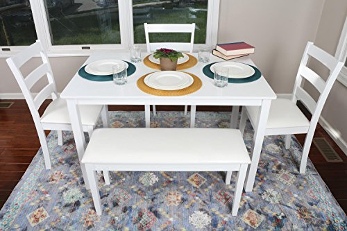 4 Person U2013 5 Piece Kitchen Dining Table Set U2013 1 Table, 3 Leather Chairs U0026 1  Bench White J150232White