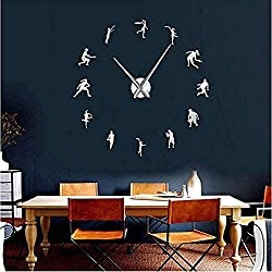YJSMXYD Wall Clocks Living Room Male and Female Tennis Players DIY GiantTennis Lover Living Room Wall Art Frameless Mirror Effect Modern Clock Watch(Silver)