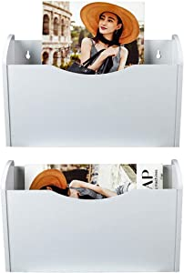 PAG 2 Pockets Hanging File Holder Wall Mount Mail Organizer Wood Magazine Rack, White