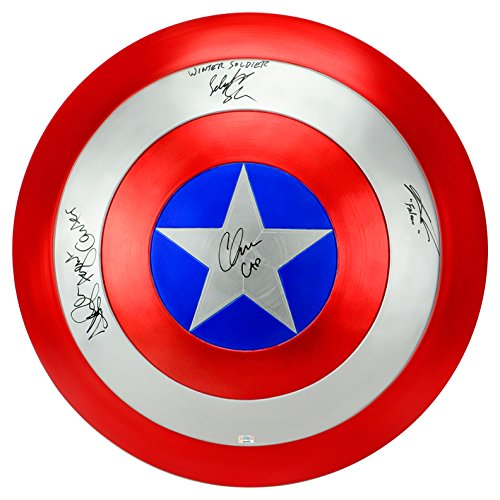 Barnes Signed (Chris Evans, Sebastian Stan, Hayley Atwell and Anthony Mackie Autographed EFX Captain America Shield)